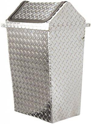 New Chrome Trash Can Metal Garbage Basket Lid FREE SHIP