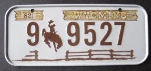 1982 POST CEREAL BICYCLE STATE LICENSE PLATE WYOMING