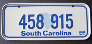 1982 CEREAL BICYCLE STATE LICENSE PLATE SOUTH CAROLINA