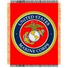 USMC MARINE CORPS GLOBE ANCHOR MILITARY BLANKET THROW