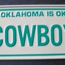 1982 CEREAL BOX BICYCLE STATE LICENSE PLATE OKLAHOMA