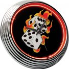 CASINO CRAPS GAME DICE DIE NEON CLOCK SIGN FREE SHIPP
