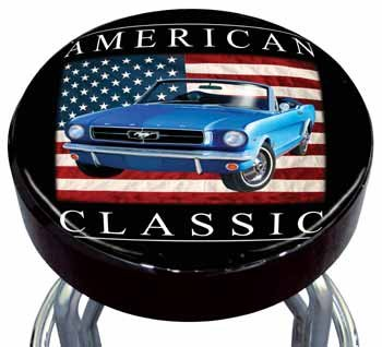 American Flag Classic Ford Mustang Convertible Car Bar