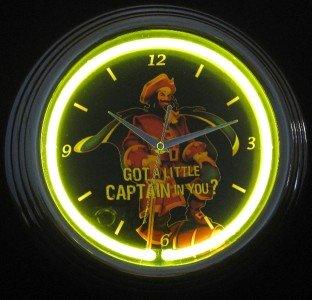 Captain Morgan Puerto Rican Pirate Rum Bar Sign Neon Clock