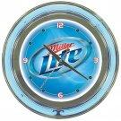 Miller Lite Brewing Beer Bottle Bar Sign Neon Clock