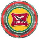 Miller High Life Brewing Beer Bottle Bar Sign Neon Clock