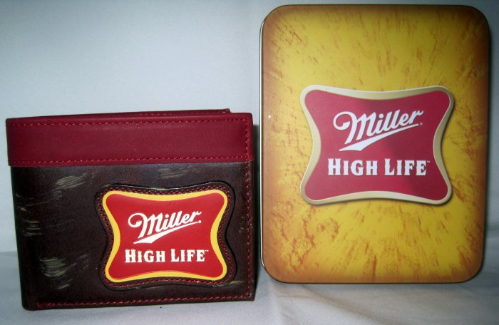 Miller High Life Beer Genuine Leather Bifold Wallet with Tin