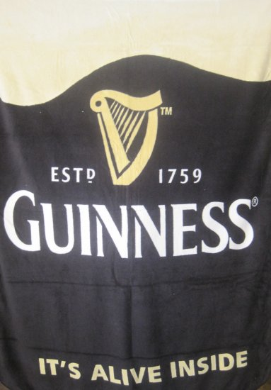 Guinness Irish Beer Pint Glass Bar Fleece Throw Blanket