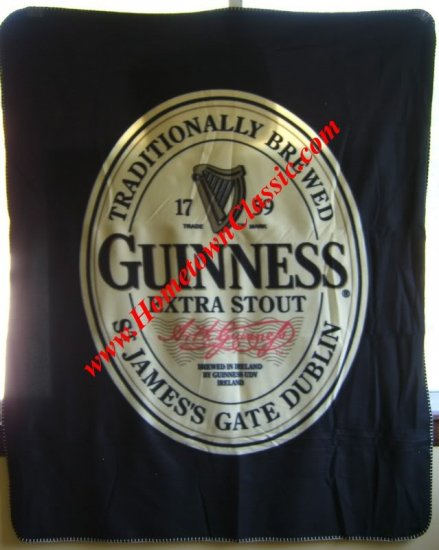 Guinness Irish Stout Beer Bar Pub Fleece Throw Blanket