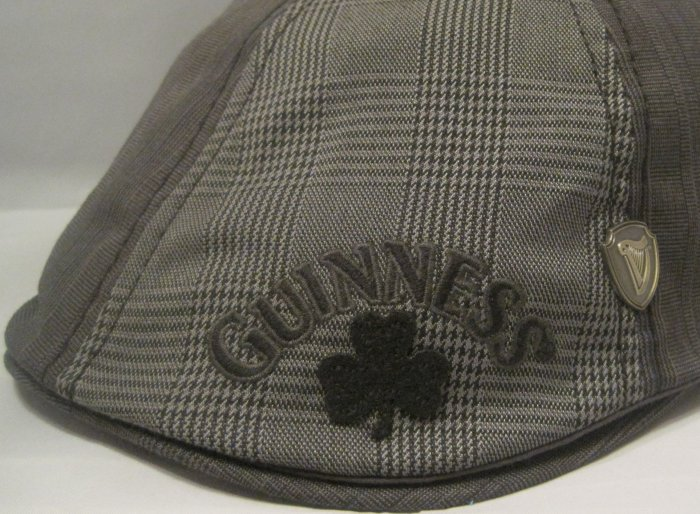 Guinness Irish Beer Ivy Plaid Gray Shamrock Cabby Hat Pub Driver Cap Size Large
