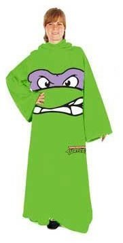 Teenage Mutant Ninja Turtles TMNT Face Adult Snuggler Fleece Throw Blanket With Sleeves Donatello