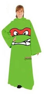 Teenage Mutant Ninja Turtles TMNT Face Adult Snuggler Fleece Throw Blanket With Sleeves Raphael