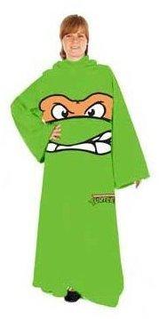 Teenage Mutant Ninja Turtles TMNT Face Adult Snuggler Fleece Throw Blanket Sleeves Michaelangelo