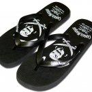 Captain Morgan Pirate Black Flip Flop Thong Sandal Shoe 12/13