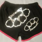 Brass Knuckle Duster Hot Sexy Heart Cheeky Booty Shorts Size Large