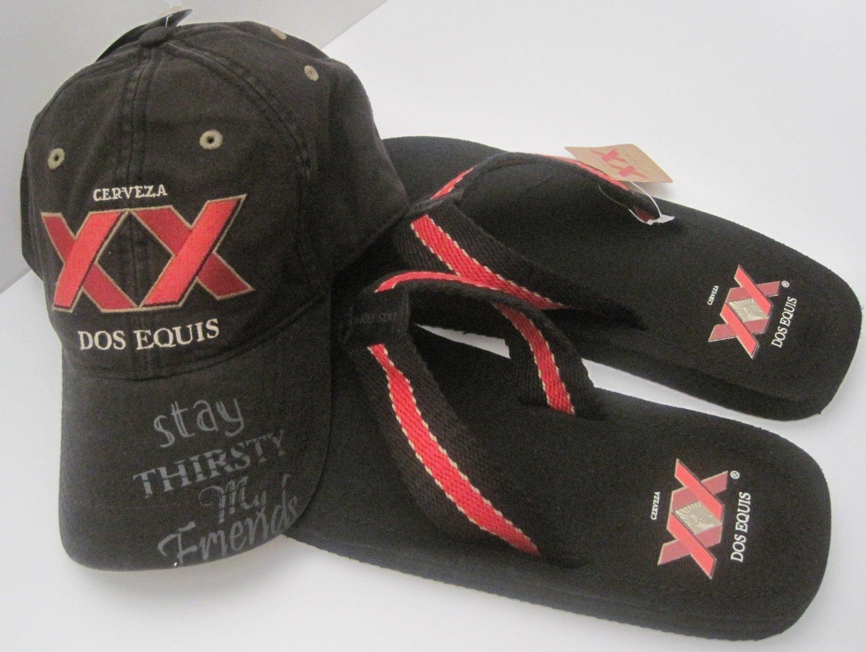 Dos Equis XX Cerveza Beer Baseball Hat Cap Flip Flop Sandals Size Large 10/11