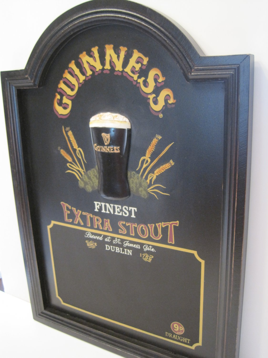 Guinness Irish Draught Beer Pint Glass 3D Pub Chalkboard Bar Sign