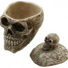 Gothic Tribal Witchraft Voodoo Skeleton Head Bone Skull Jewelry Storage Box Cup