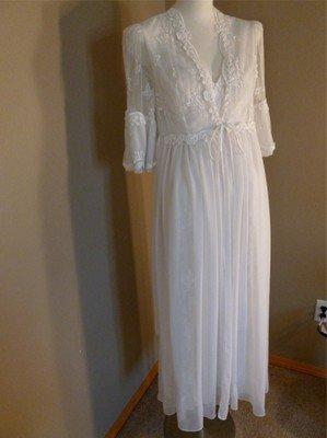 Designer Flora Nikrooz Bridal Negligee Peignoir Set Sheer Mesh Lace Floral