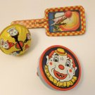 Vintage Lot Tin Noisemakers Kirchhof Newark, N. J. Made in USA Dancer & Clowns