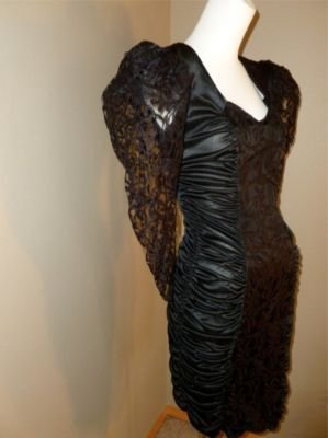 Vintage 80's Figure Hugging Slinky Ruched Nightclubbing Dress Lace 3