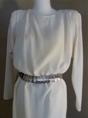 Vintage Designer Pierre Cardin Boutique 80's Slinky Ecru Shift Ruched Shoulders