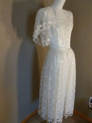 Vintage Jessica McClintock Bridal Luscious Lace Formal Gown 4