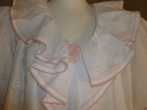 VTG David Brown California for I.Magnin Loungewear Eyelet Pink Embroidery S NW