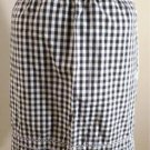 Vintage Tie Apron 60's Kitsch B&W Gingham Pink & Blue Embroidery