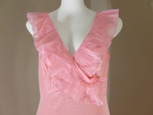 Vintage Gaymode JC Penney Candy Pink Nightgown Pleated Ruffle Neckline M