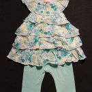 GREENDOG Girl's 12 M Aqua Tunic and Leggings Outfit NEW