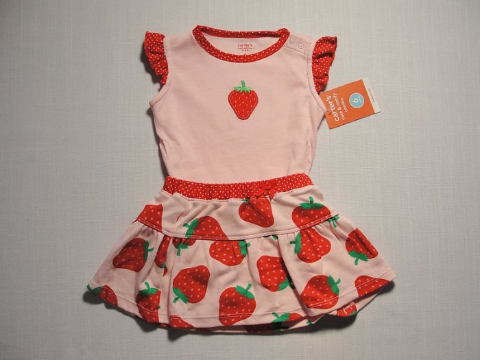 CARTER'S Girl's 6 Months Pink Red Strawberry Top and Skirt Set, Outfit, NEW