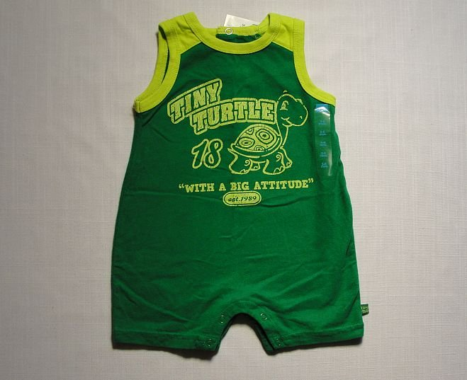 THE CHILDREN'S PLACE Boy's 3-6 Months Tiny Turtle Green One-Piece Romper, NEW