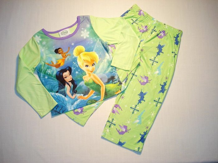DISNEY FAIRIES Girl's Size 4 TINKERBELL Pajama Set, NEW