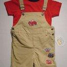 ALL MINE Boy's 18 Months Shirt, Shortalls Set 'Racing'