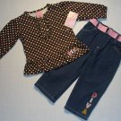 MON PETIT Girls 18 M Polka Top, Jeans Outft, Diva, New Without Tags