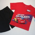 DISNEY Boys 4T CARS Lightning McQueen Shorts Outfit NEW
