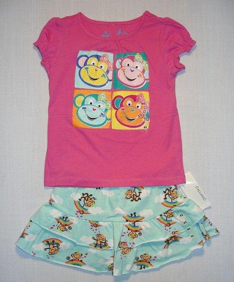 GREENDOG Girl's 4T/4 Pink Monkey Shirt, Skort Set, NEW
