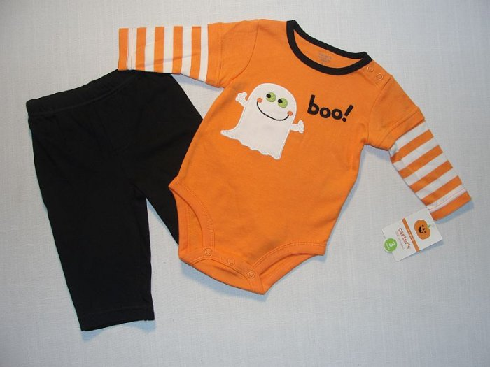 CARTER'S 3 Months Halloween Ghost Pants Outfit, NEW