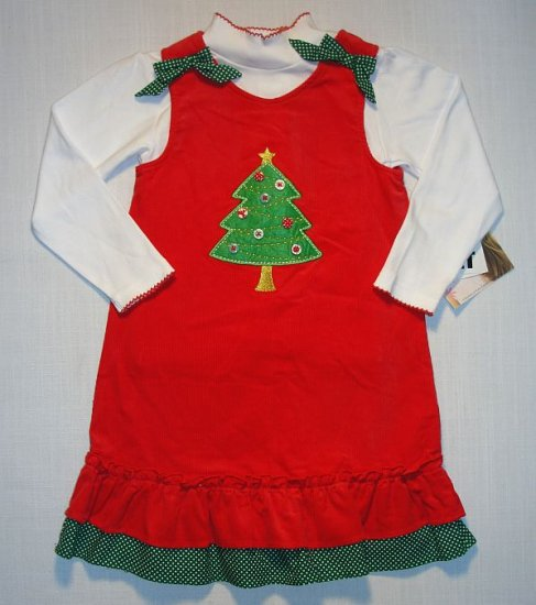 YOUNGLAND Girl Size 6 Red Christmas Jumper Dress Set NEW