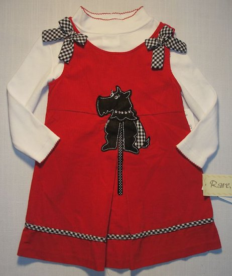 RARE, TOO! Girl's Sz 6 Red Scottish Terrier Dress Set