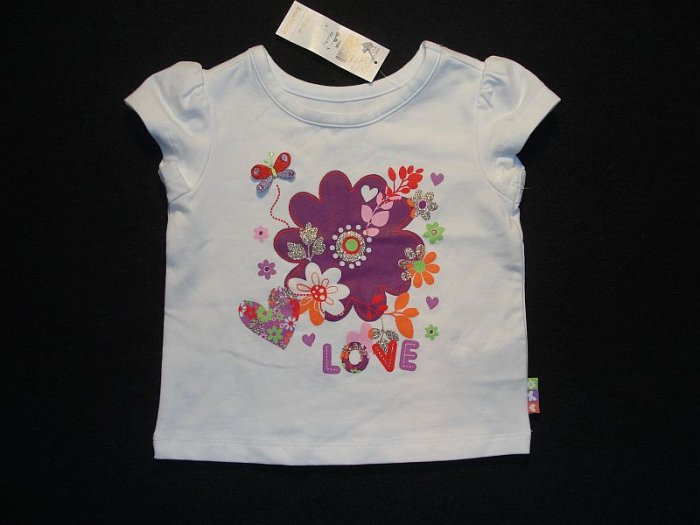 CHILDRENS PLACE Girl's 6-9 Months Floral White T-Shirt, NEW
