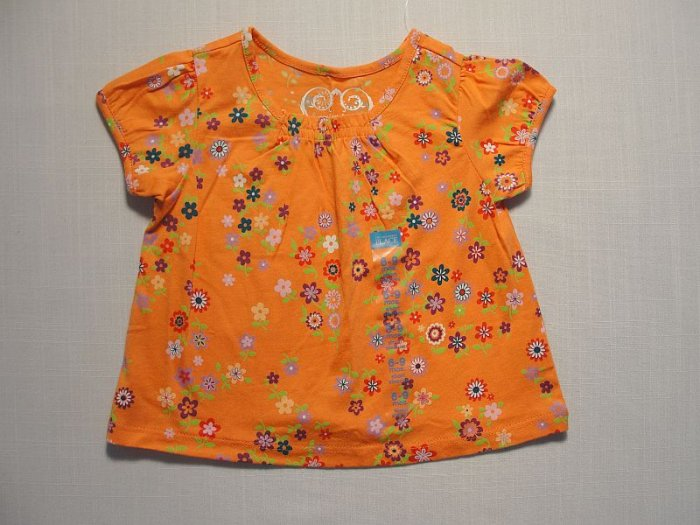 THE CHILDREN'S PLACE Girl's 6-9 Months Orange Floral Top, Shirt, NEW