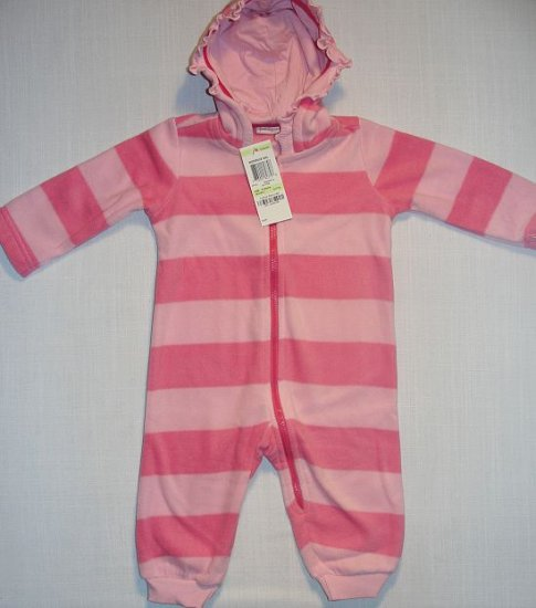 FIRST IMPRESSIONS Girl's 3-6 Months Pink Striped Micro Fleece Romper, One-Piece