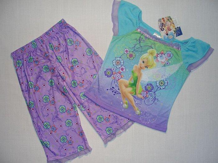 DISNEY FAIRIES Girl's Sz 4 TINKERBELL Capri Pajama Set