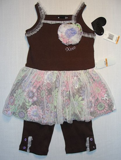 XOXO Girl's 12 Months Brown Floral Tunic, Leggings Set, NEW