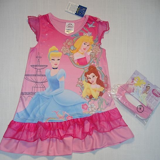 DISNEY PRINCESS Girls Sz 4 Nightgown, Slipper Set NEW