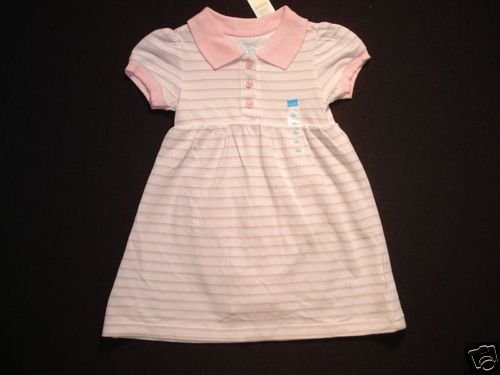 CHILDREN'S PLACE Girls 12 Months Pink Striped Polo Dress NEW