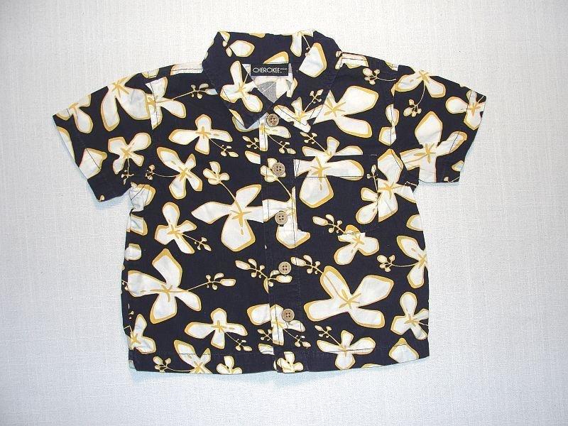 CHEROKEE Boy's 9 Months Short-Sleeved Navy Blue Floral Shirt