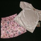 NEW Girls Size 4 Summer Pajama Shorts and Top Outfit
